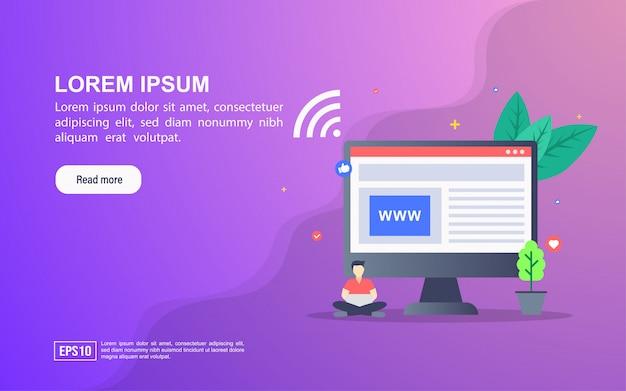 ウェブサイトのイラストの概念。リンク先ページのwebテンプレートまたはオンライン広告