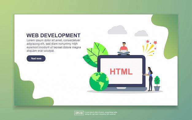 小さな人のキャラクターのランディングページを使用したweb開発
