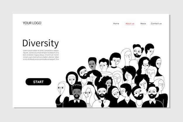 会社の人チームの多様性を示す人々。ランディングページwebテンプレート