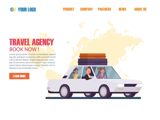 旅行代理店フラットデザインwebページテンプレート