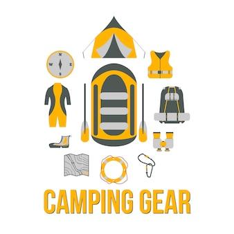 キャンプ用品。観光用機器川のボート旅行のweb要素。ベクトルイラスト