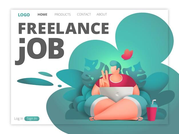 フリーランスのジョブwebページテンプレート。ジャングルの森に座っているラップトップでデザイナーの男性キャラクター