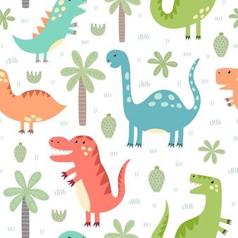 かわいい恐竜のシームレスパターン。生地や織物、壁紙、webページの背景、カードやバナーのデザインに最適な幼稚なスタイルで