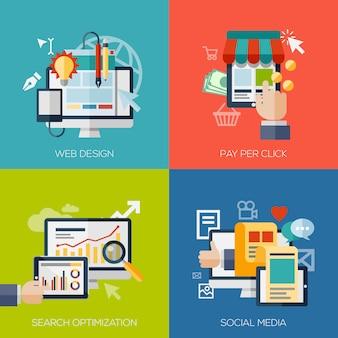 Webおよびモバイルサービスとアプリケーションのためのフラットなデザインコンセプト要素のセット