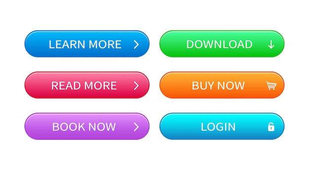 抽象的な現代的なインターフェイスボタンのセットです。 webデザインのための異なる色のベクトルボタンの準備ができてテンプレート