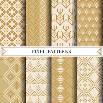布地の織物やwebページの背景を作るためのタイのピクセルパターン。