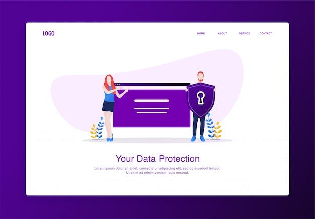 男性と女性のイラストは、webサイトの画面にシールドセキュリティを導入しました。モダンなフラットデザインのコンセプト、ランディングページのテンプレート。