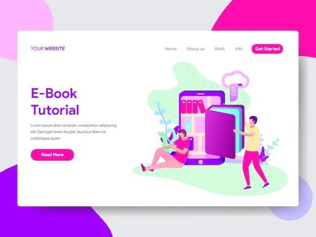 Webページのための電子書籍チュートリアルイラスト