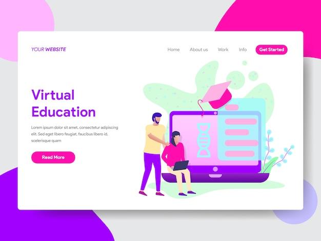 Webページのオンライン教育イラストを持つ学生