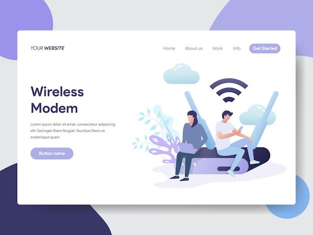 Webサイトページのワイヤレスモデムの図
