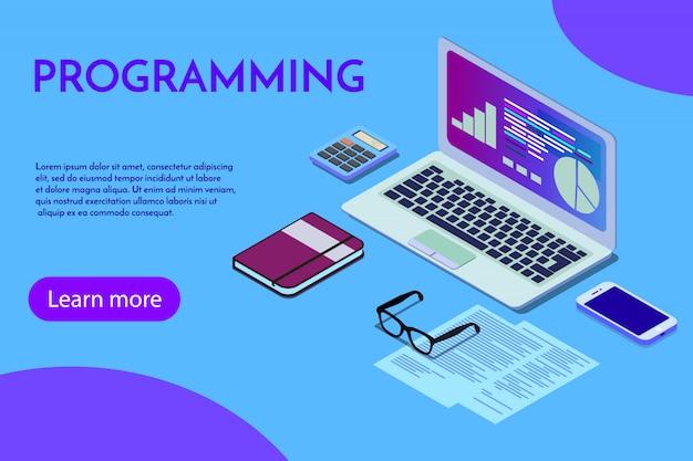 プログラミングプログラマーのプログラミングwebサイトのランディングページテンプレート。