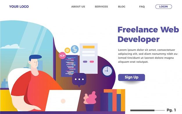 フリーランスのweb開発者ランディングページテンプレート。男性コーディングウェブサイトイラスト