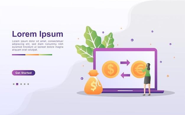 通貨交換のコンセプト。人々はオンラインで通貨を交換します。世界の通貨交換サービス。 webランディングページ、バナー、チラシ、モバイルアプリに使用できます。