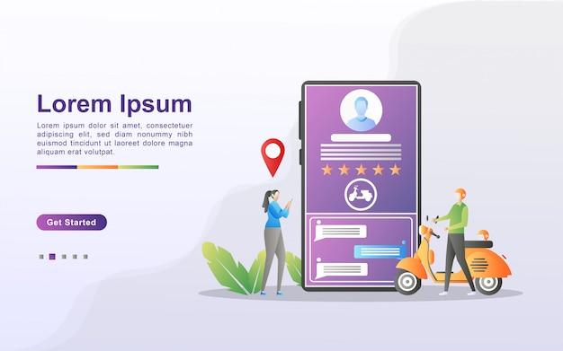 オンライン輸送の概念。人々は、モバイルアプリを通じて交通機関を注文します。オンラインで食べ物を注文します。都市交通サービス。 webランディングページ、チラシ、モバイルアプリに使用できます。