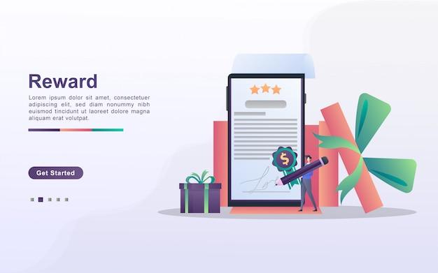 報酬プログラムとギフトのコンセプトを取得します。人々は懸賞、キャッシュバックプログラム、忠実な顧客への報酬、魅力的なオファーに勝ちます。 webランディングページ、バナー、モバイルアプリに使用できます。