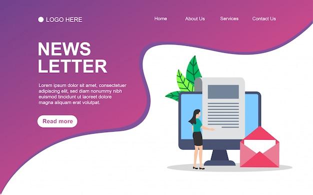 Webランディングページテンプレートの人々のキャラクターのニュースレター。