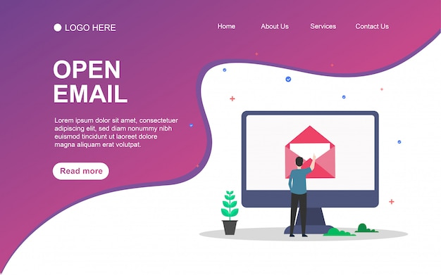 Webランディングページテンプレートの人物文字を含むオープンメール。
