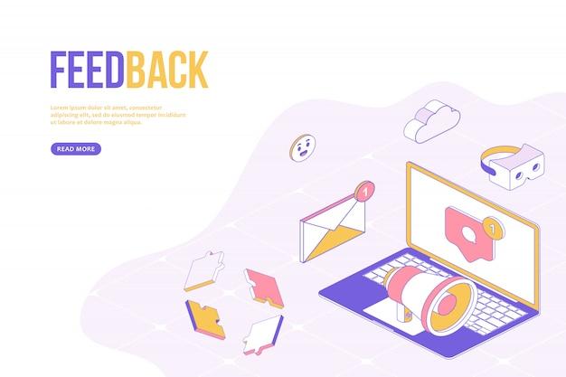 フィードバックwebデザインコンセプト。等尺性オブジェクトを持つ創造的なデザインテンプレート。