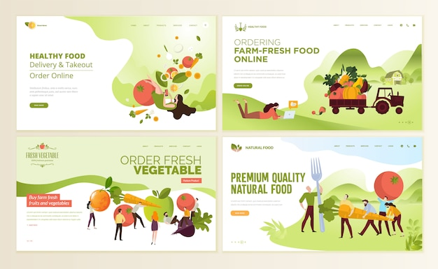 食べ物や飲み物のwebページデザインテンプレート