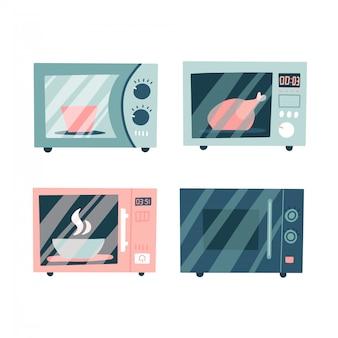 電子レンジのアイコンを設定します。 webデザインのための食物と一緒に電子レンジのコレクション。フラットイラスト
