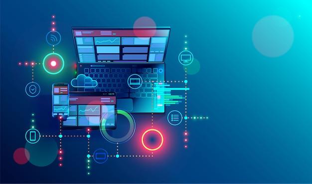 複数のプラットフォーム用の作成レスポンシブインターネットwebサイト。ノートパソコンの画面にモバイルインターフェースを構築する