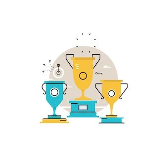 競争のチャンピオン、報酬、ゴブレット受賞者、勝者カップ、ビジネス成功、リーダーシップコンセプトフラットベクトルイラストデザインモバイルとwebグラフィックス