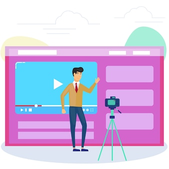 インターネットでそれを共有するためにビデオを録画するカメラの前の男。ビデオブログ、webテレビ、または埋め込みビデオの概念。