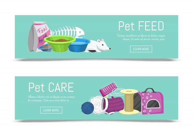 ペットケア用品webバナーベクトルイラスト。動物の世話と猫の餌付け情報。猫のアクセサリーの食べ物、おもちゃ、キャリア、トイレ、手入れ用品。