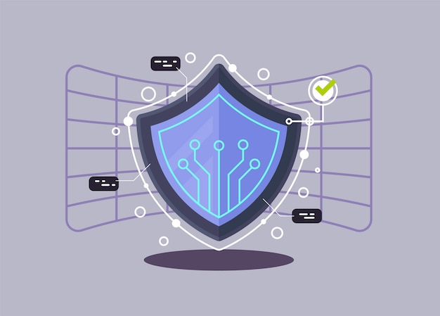 Webのインターネットセキュリティフラット設計図。現代ベクトル図の概念。