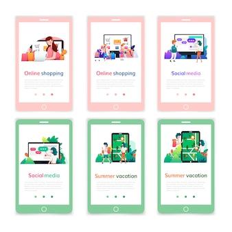 オンラインショッピング、デジタルマーケティング、ソーシャルメディア、夏休みのモバイルページデザインテンプレートのセット。モバイルwebサイト開発の現代ベクトル図の概念。