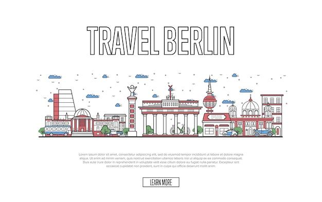 線形スタイルの旅行ベルリンwebテンプレート