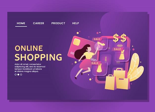 ランディングページまたはwebテンプレート。女性は仮想オンラインショッピングを行う