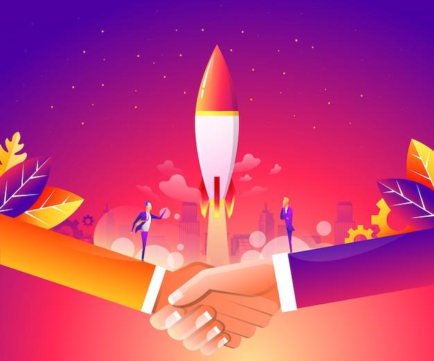 Webページ、バナー、プレゼンテーション、ソーシャルメディアのビジネス立ち上げコンセプト。