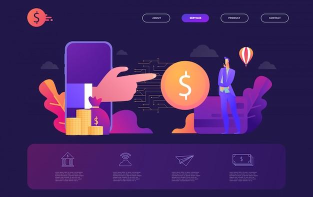 オンラインバンキングモダンなフラットデザインコンセプト、学習と人々の概念、webページの概念的なフラットのランディングページテンプレート、