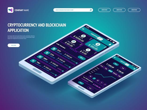 スマートフォン用の暗号通貨およびブロックチェーンアプリケーション。 webサイトのヘッダーテンプレート。ランディングページ。