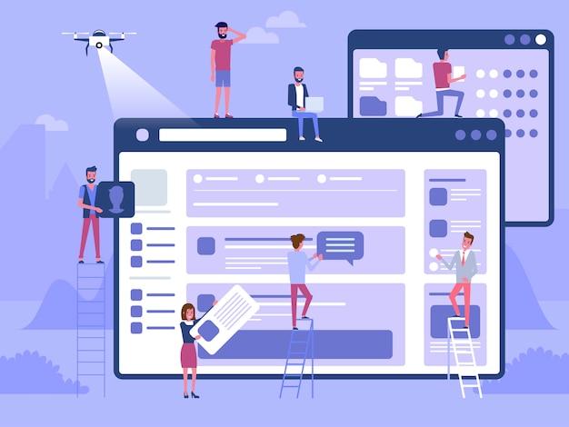 Webと開発。建設中のサイト。ランディングページで作業するチームの若い専門家。フラットイラスト、クリップアート。職場でのミレニアル世代。デジタルクリエイティブ産業。