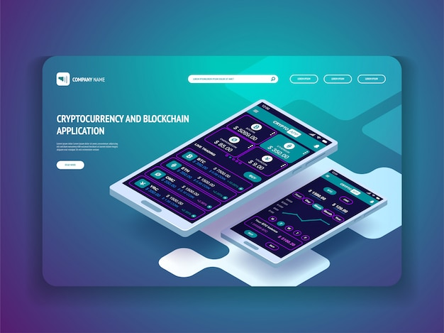 スマートフォン向けの暗号通貨およびブロックチェーンアプリケーション。 webサイトのヘッダーテンプレート。ランディングページ。