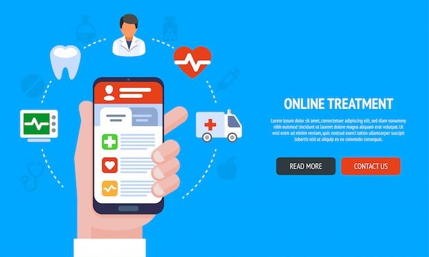 Webデザイン、マーケティング、印刷物のオンライン医療サービスのフラットラインデザインのウェブサイトバナー。