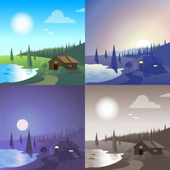 平らな湖の家の風景川銀行野生の森林シーンセット。スタイリッシュなwebバナー自然屋外コレクション。日光、夜の月光、サンセットビュー、レトロなビンテージ写真セピア。