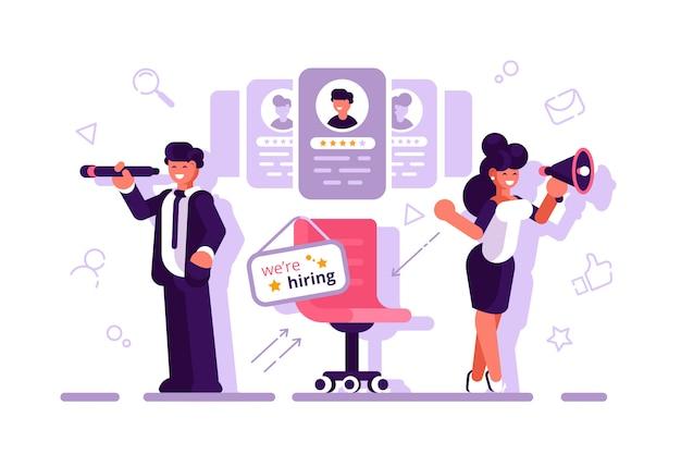 キャラクターをコンセプトに採用しています。 webページの募集コンセプト。仕事、募集代理店。人事。履歴書の記入、従業員の雇用、フォームの記入。平らなベクトル。実業家