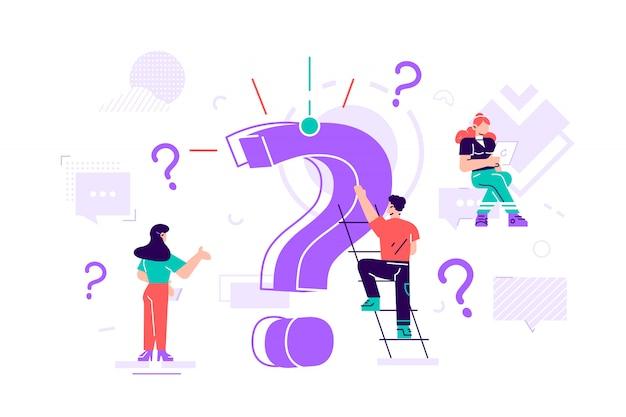 疑問符の概念。巨大な疑問符の周りに質問をするビジネスマン。 webバナー、インフォグラフィック、携帯サイト、カードのフラットスタイルの設計図。ランディングページテンプレート。