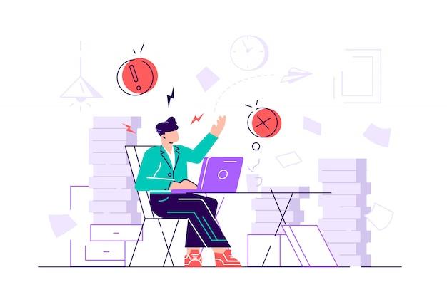 疲れて憤慨している女性会社員は、書類や書類の山に頭を抱えています。オフィスでのストレス。ラッシュワーク。 webページ、カードのフラットスタイルのモダンなデザインイラスト