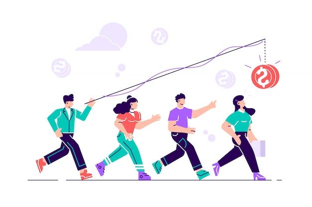 図、お金の追求、成功へのキャリアの成長、フラットカラーアイコン、ビジネス分析。 webページ、カード、ポスター、ソーシャルメディアのフラットスタイルのモダンなデザインのイラスト。