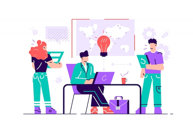 オフィススタッフのトレーニング。売り上げとスキルを増やします。チーム思考とブレーンストーミング。会社情報の分析。 webページ、カード、ポスターのフラットスタイルのモダンなデザインのイラスト。