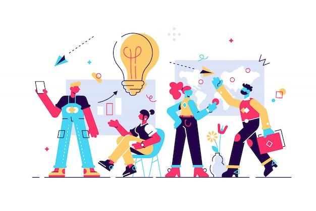 図。オフィススタッフのトレーニング。売り上げとスキルを増やします。チーム思考とブレーンストーミング。会社情報の分析。 webページのフラットスタイルのモダンなデザインの図