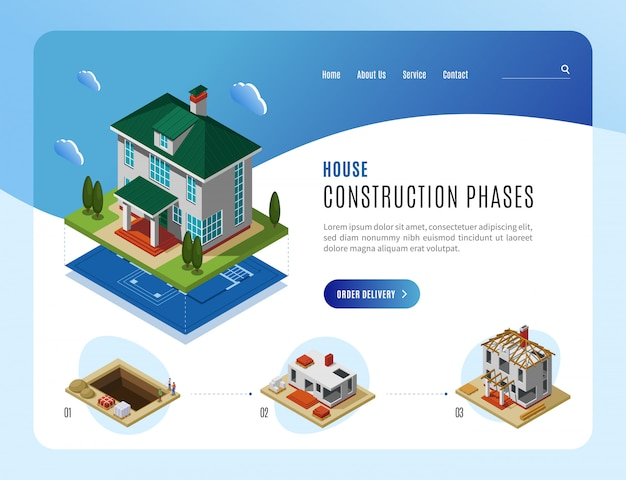Webサイトデザインの等尺性ベクトル図のランディングページテンプレートを広告住宅建設フェーズ