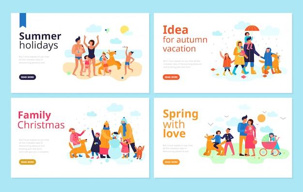 家族の休暇シーズンの休日の自由な時間を一緒に過ごすアイデアフラットバナーwebページ