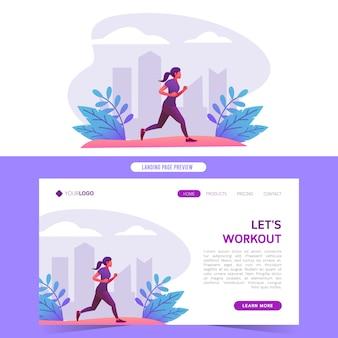 Webサイトのホームランディングページとバナーの公園ベクトル図で健康的な運動を実行しているジョギングの女性