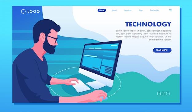 テクノロジーコンピューターとガジェットwebサイトのランディングページ
