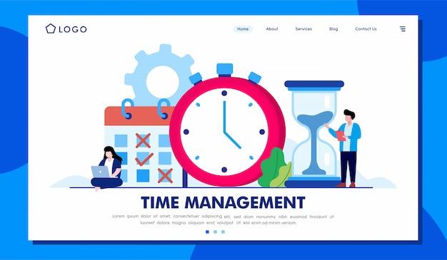 時間管理ランディングページwebサイトイラストテンプレート